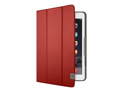 Belkin Tri-Fold Folio - Flip cover for tablet - durable fabric - mix it red - for Apple iPad Air; iPad Air 2; Samsung Galaxy Tab A (9.7 in), Tab S2 (9.7 in)
