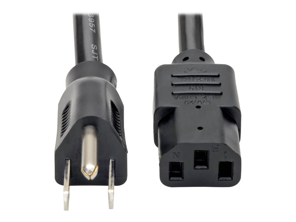 Tripp Lite 2ft Computer Power Cord Cable 5-15P to C13 Heavy Duty 15A 14AWG 2' - power cable - 61 cm