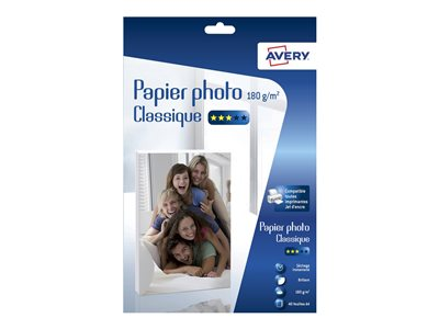Papier photo Avery - 40 Feuilles de Papier Photo 180g/m² A4 - Impression Jet d'encre - Brillant