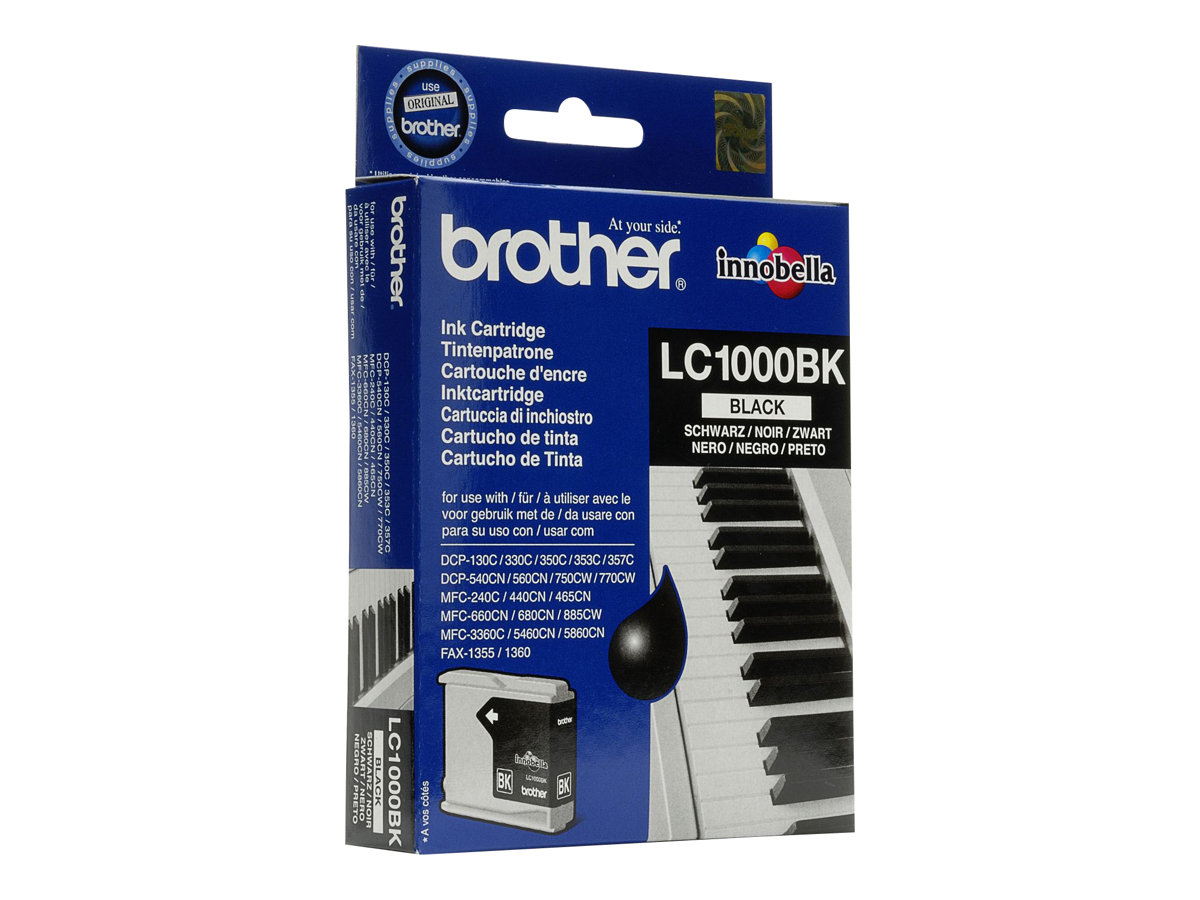 Brother LC1000BK - Schwarz - Original - Tintenpatrone - für Brother DCP-350, 353, 357, 560, 750, 770, MFC-3360, 465, 5460, 5860, 660, 680, 845, 885