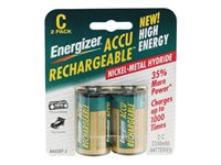 Energizer NH 35BP-2 Battery 2 x C NiMH ( rechargeable ) 2200 mAh silver