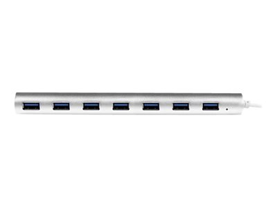 StarTech.com 7 Port Compact USB 3.0 Hub with Built-in Cable - Aluminum USB Hub - Silver USB3 Hub with 20W Power Adapter (ST73007UA)