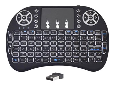 Premiertek Mini Handheld Keyboard with touchpad backlit wireless 2.4 GHz black