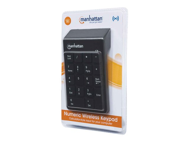 Manhattan Numeric Keypad, Wireless (2.4GHz), USB-A Micro Receiver, 18 Full Size Keys, Black, Membrane Key Switches, Auto Power Management, Range 10m, AAA Battery (included), Windows and Mac, Three Year Warranty, Blister