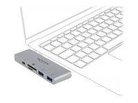 DeLock 3 Port Hub and 2 Slot Card Reader for MacBook PD 3.0 and retractable USB Type-C Connection Hub 3 porte USB
