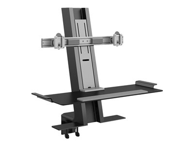 Humanscale QuickStand Desk mount for 2 LCD displays / keyboard black with gray trim