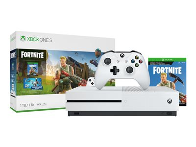 Microsoft Xbox One S Fortnite Bundle game console 4K HDR 1 TB HDD robot whi