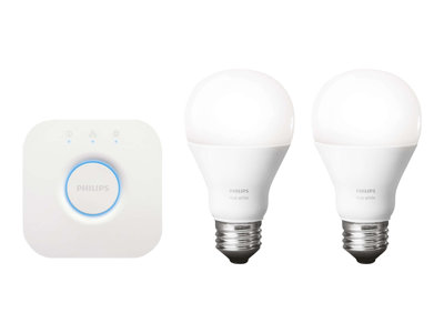 Philips Hue Lux Wireless LED Smart Lighting Starter Kit with Two Bulbs, Wireless Bridge, Power Adapter and Free iOS or A (Refurbished)