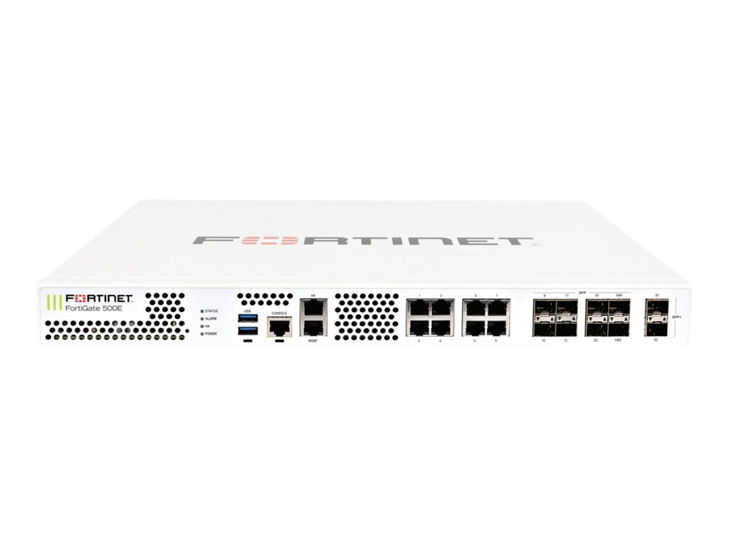 Fortinet FortiGate 500E - Enterprise Bundle - security appliance - with 1 year FortiCare 24X7 Support + 1 year FortiGua…