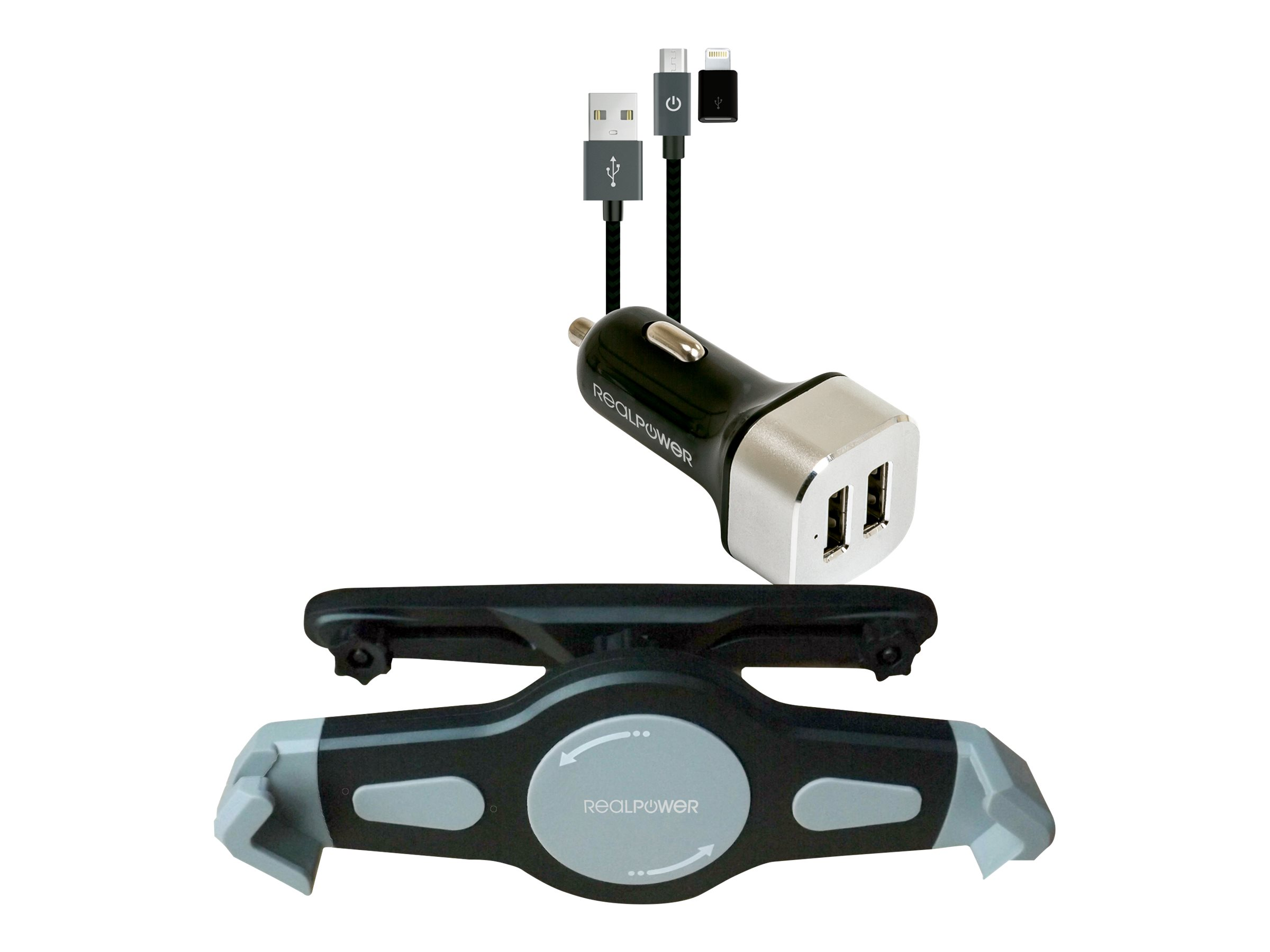 Realpower Tablet Car Set - Car power adapter - 2.4 A - 2 Ausgabeanschlussstellen (2 x USB) - auf Kabel: Micro-USB, Lightning