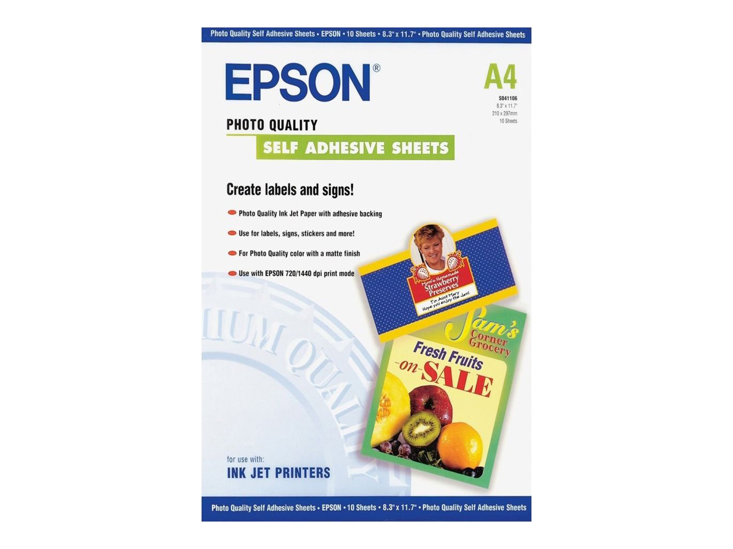 Epson Photo Quality Self Adhesive Sheets - Selbstklebend - A4 (210 x 297 mm) - 167 g/m² - 10 Stck. Blätter - für Expression Home HD XP-15000; Expression Premium XP-540, 6000, 6005, 900