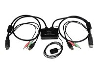 StarTech.com 2 Port DisplayPort KVM Switch with Audio, Remote Control Switch - SV211DPUA