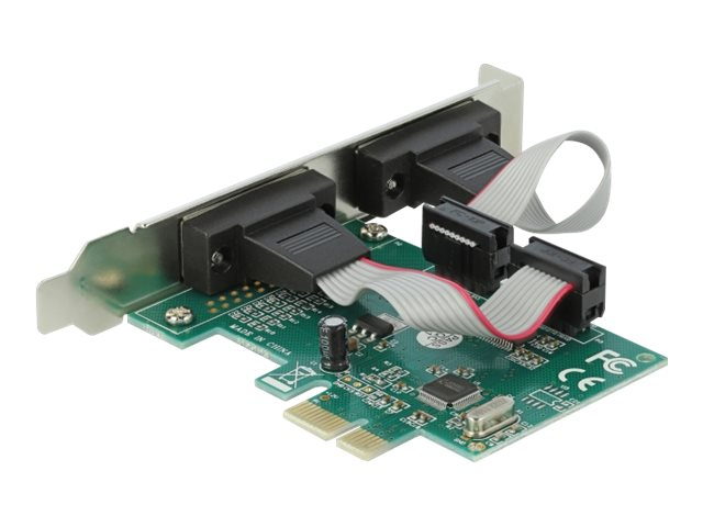 Delock PCI Express Card to 2 x Serial RS-232 - Serieller Adapter - PCIe 1.1 Low-Profile - RS-232 x 2 - grün