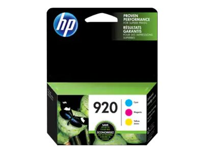 HP 920 - 3-pack - dye-based cyan, dye-based magenta, dye-based yellow - original - ink cartridge