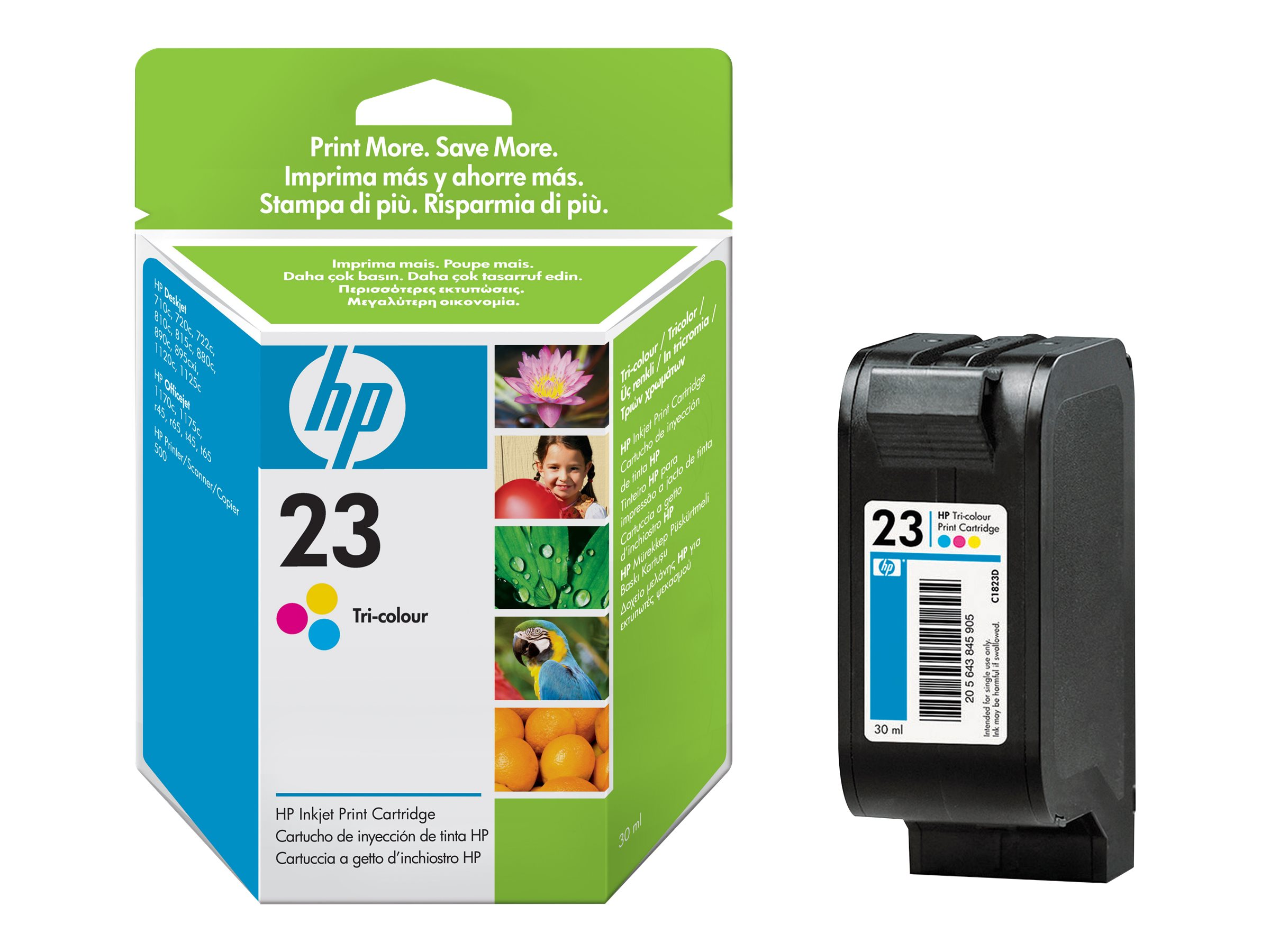 HP 23 - 30 ml - Farbe (Cyan, Magenta, Gelb) - Original - Tintenpatrone - für Color Copier 270; Officejet R40, R45, R60, R65, R80, T45, T65; Officejet Pro 11XX; psc 500