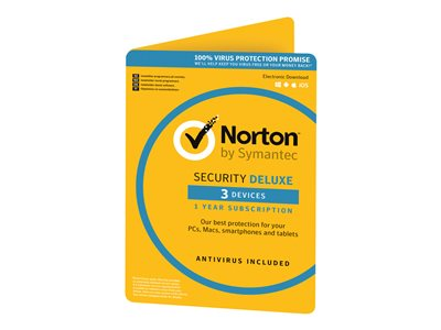 SYMANTEC NORTON SECURITY DELUXE 3.0 1 USER 3 DEVICE 12MO GENERIC CARD DVDSLV ATTACH (ND)