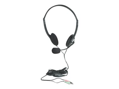 Manhattan Stereo On-Ear Headset (3.5mm), Microphone Boom, In-Line Volume Control, Foam Earpads, Standard 2x 3.5mm stereo jack/plug for audio/mic use, cable 2m, Black, Three Year Warranty, Blister