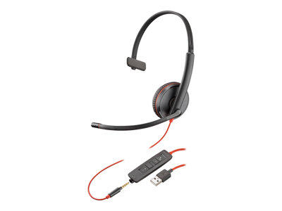 Poly Blackwire C3215 USB 3200 Series headset on-ear wired USB, 3.5 mm ja
