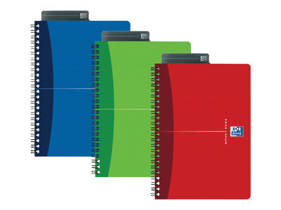 Cahiers professionnels Oxford Office Essentials - Carnet à spirale - A5 - 90 feuilles - extra blanc - quadrillé - carton