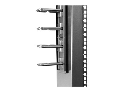 Black StarTech.com Vertical Cable Organizer with D-Ring Hooks CMVER20UD