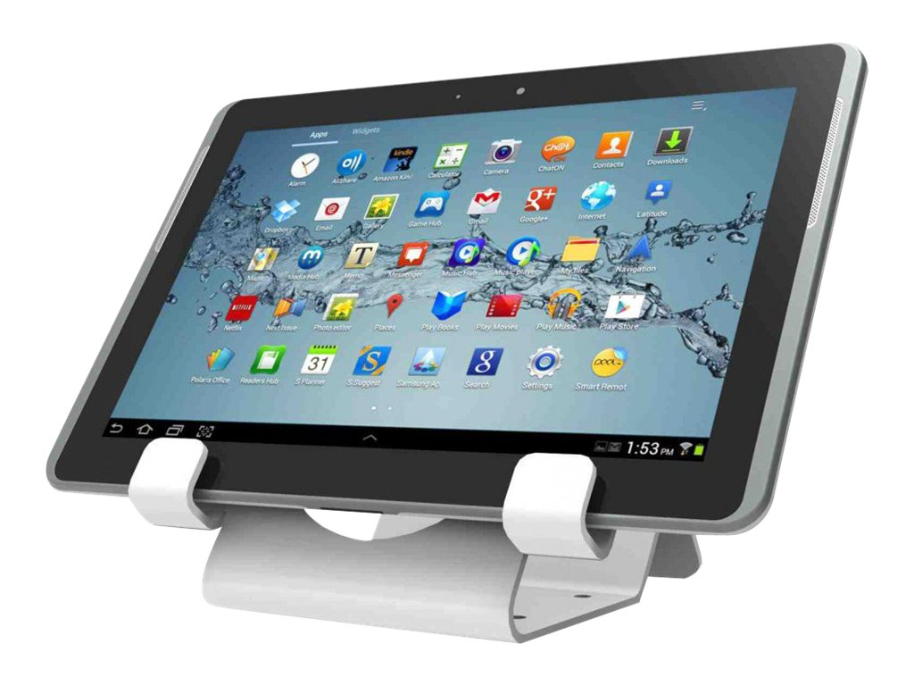 Compulocks Universal Tablet Holder Keyed Coiled Cable Lock White - stand