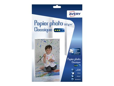 Papier photo Avery - 50 Feuilles de Papier Photo 160g/m² A4 - Impression Jet d'encre - Brillant