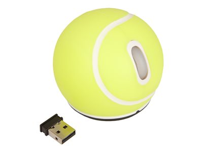 Urban Factory Mouse Wireless Tennis Ball Yellow 2.4HGz, 1200 dpi, 2 buttons & scroll, requires 2xAA