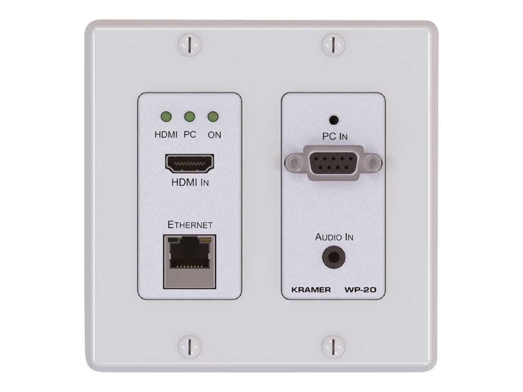 Kramer WP-20 Active Wall Plate - Brushed Aluminum 2-gang EU design - HDBaseT Sender