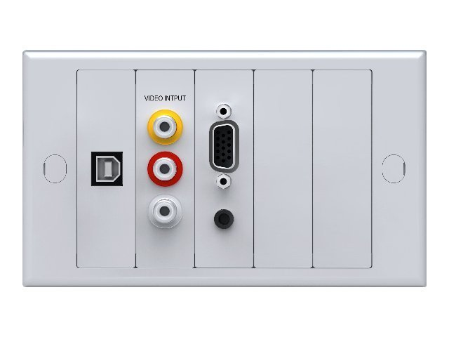 VISION TechConnect 2 Lite Module Package - Modulares Faceplate mit Snap-Ins - HD-15, RCA X 3, Mini-Phone Stereo 3,5 mm, USB-Typ B - weiß, RAL 9010