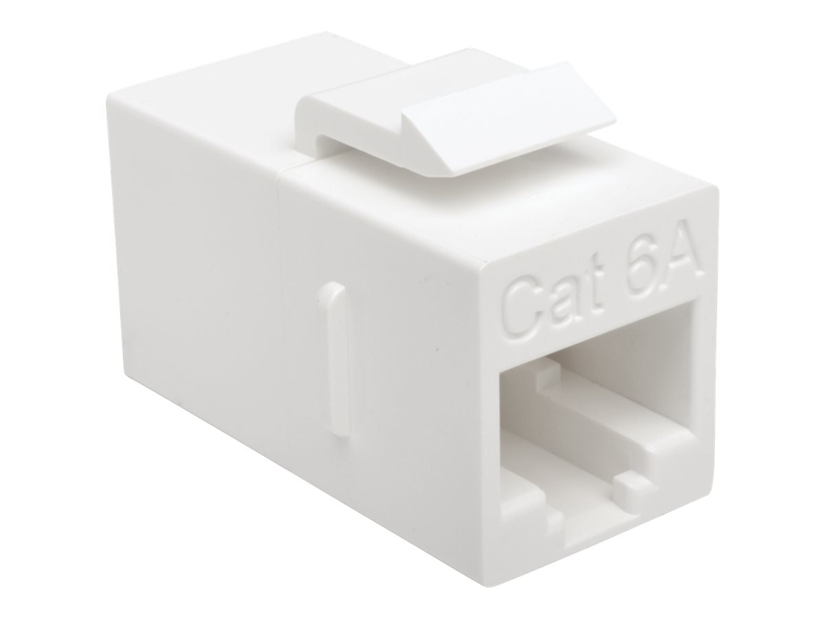 Tripp Lite Cat6a Straight Through Modular In Line Snap In Coupler RJ45 F/F - network coupler - TAA Compliant - white