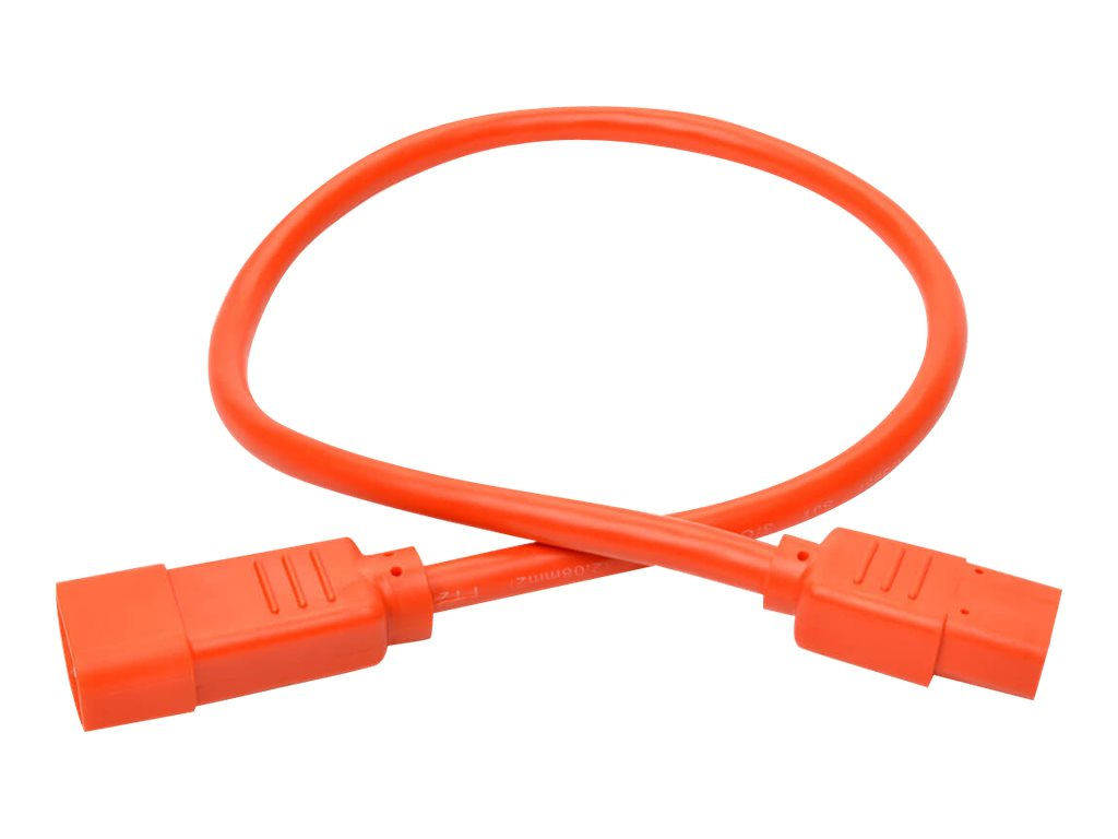 Tripp Lite 2ft Heavy Duty Power Extension Cord 15A 14 AWG C14 C13 Orange 2' - power cable - 60 cm
