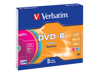 Verbatim Colours - 5 x DVD-R - 4.7 GB 16x