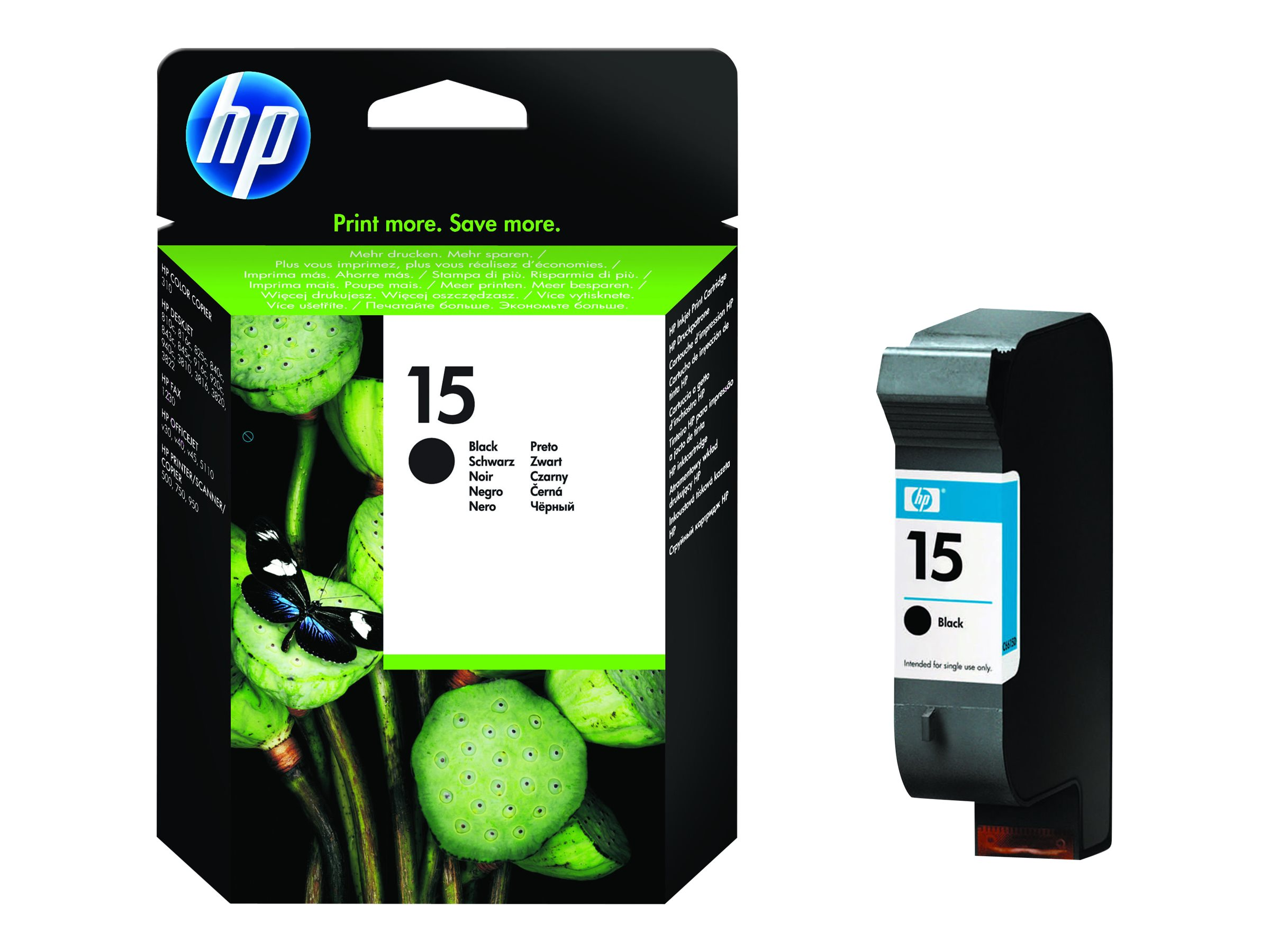 HP 15 - 25 ml - Schwarz - Original - Tintenpatrone - für Deskjet 38XX, 940; Digital Copier 310; Fax 1230; Officejet 5110, v40; psc 500, 750, 950