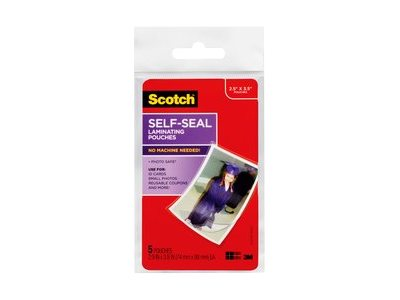 Scotch 5-pack self-seal glossy laminating pouches
