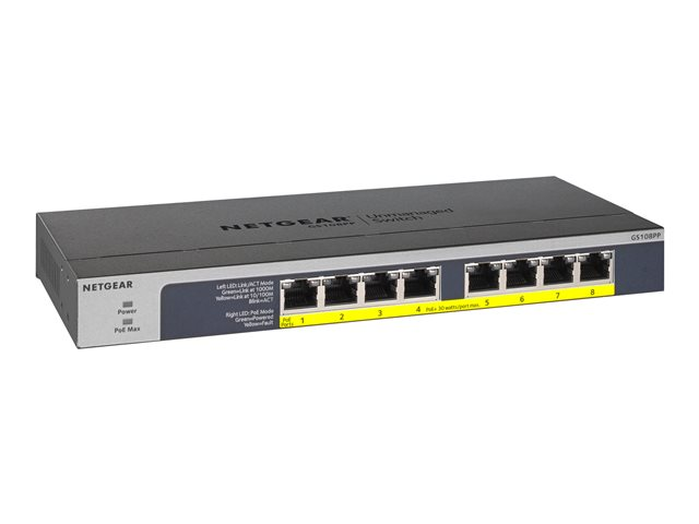 Image of NETGEAR GS108PP - switch - 8 ports - rack-mountable