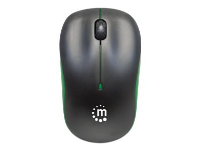Manhattan Success Wireless Mouse, Black/Green, 1000dpi, 2.4Ghz (up to 10m), USB, Optical, Three Button with Scroll Wheel, USB micro receiver, AA battery (included), Low friction base, Three Year Warranty, Blister
