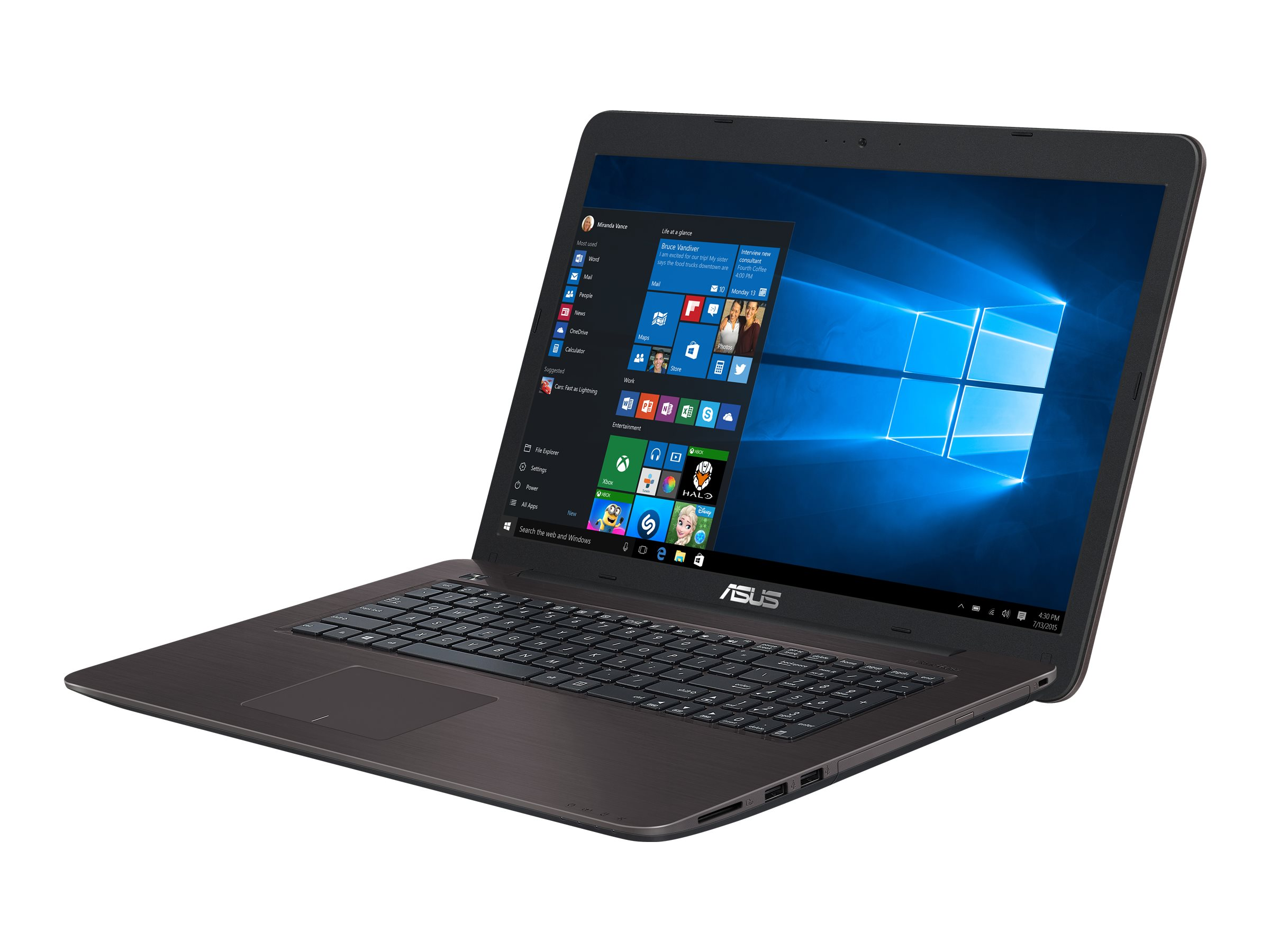 ASUS X756UX-T4244T - Core i7 7500U / 2.7 GHz - Win 10 Home 64-Bit - 16 GB RAM - 128 GB SSD + 1 TB HDD - DVD SuperMulti