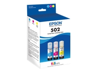Epson 502 Multi-pack With Sensor - 3-pack - yellow, cyan, magenta - original - ink tank - for EcoTank ET-15000; Expression ET-2700, 2750, 3700; WorkForce ET-3750, ST-2000, 3000, 4000