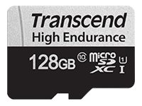 Transcend 350V - Carte mémoire flash (adaptateur SD inclus(e)) - 128 Go - UHS-I U1 / Class10 - microSDXC UHS-I
