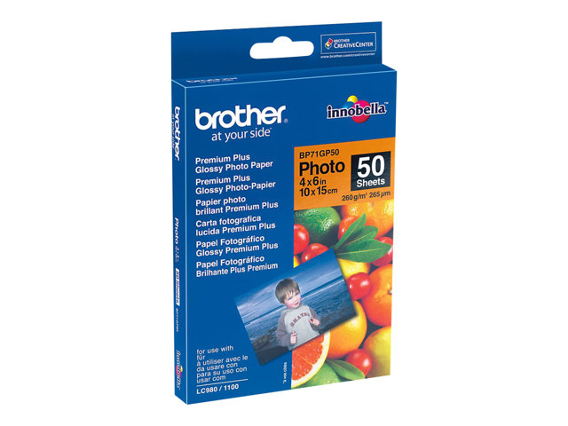 Brother BP - Brillant - 100 x 150 mm 50 feuille(s) papier photo - pour Brother DCP-J4120, J772, J774, J785, MFC-J2720, J4625, J6530, J6930, J880, J890, J895