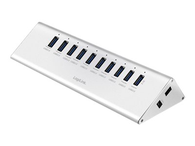 LogiLink USB 3.0 HUB 10-port, Aluminium, inkl. Power Supply