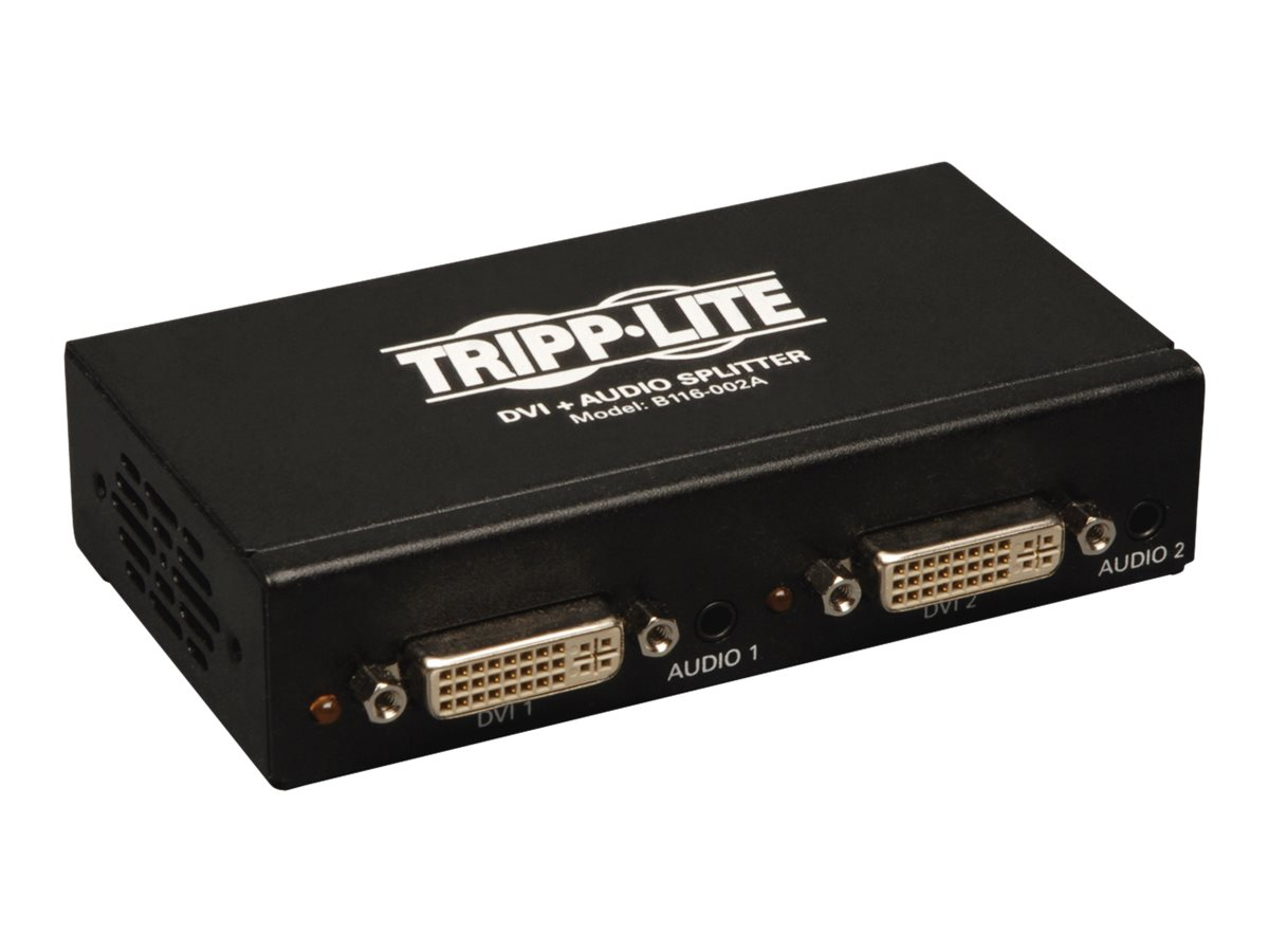 Tripp Lite 2-Port DVI Single Link Video / Audio Splitter / Booster DVIF/2xF TAA - video/audio splitter - 2 ports