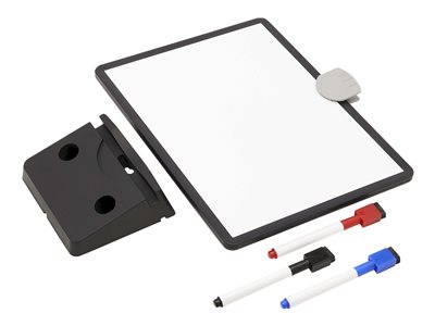 Tripp Lite Magnetic Dry-Erase Whiteboard with Stand - VESA Mount, 3 Markers (Red/Blue/Black), Black Frame - whiteboard - white