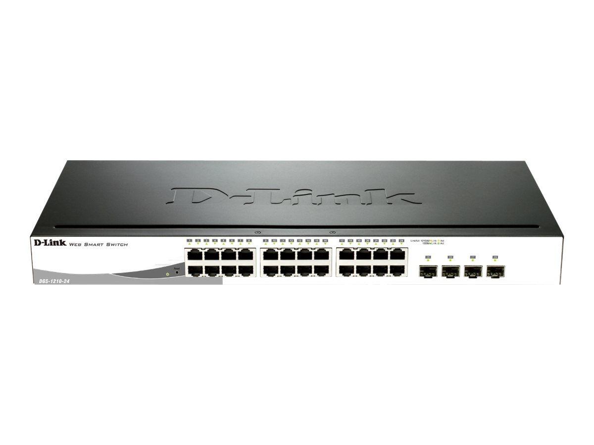 D-Link Web Smart DGS-1210-24 - Switch - verwaltet - 24 x 10/100/1000 + 4 x Shared SFP - Desktop