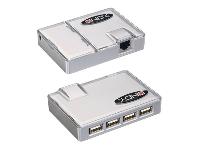 LINDY CAT5 USB Extender with 4 Port USB 1.1 Hub - USB extender - USB - up to 50 m