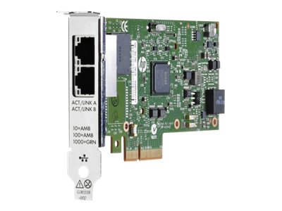HPE 361T - Netzwerkadapter - PCIe 2.0 x4 Low Profile - Gigabit Ethernet x 2 - für ProLiant DL20 Gen9, DL360 Gen10, ML10 Gen9, ML30 Gen9; SimpliVity 380 Gen9; StoreEasy 3850