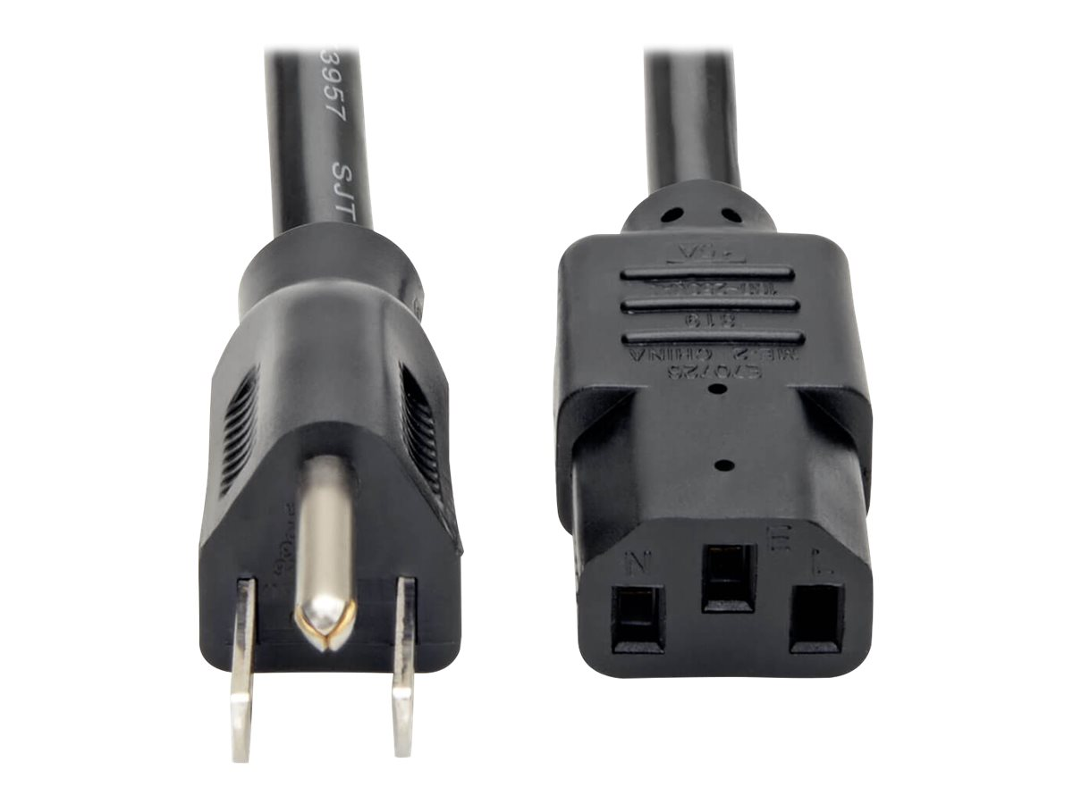 Tripp Lite 10ft Computer Power Cord Cable 5-15P to C13 Heavy Duty 15A 14AWG 10' - power cable - 3 m