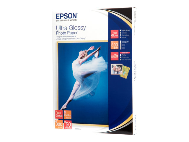 Epson Ultra Glossy Photo Paper - Brillant - 130 x 180 mm 50 feuille(s) papier photo - pour EcoTank ET-2710, 2711; Expression Home HD XP-15000; Expression Premium XP-540, 6000, 6005