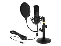 DeLOCK Professional USB Condenser Microphone Set for Podcasting and Gaming Mikrofon Kabling -38dB Envejs Sort