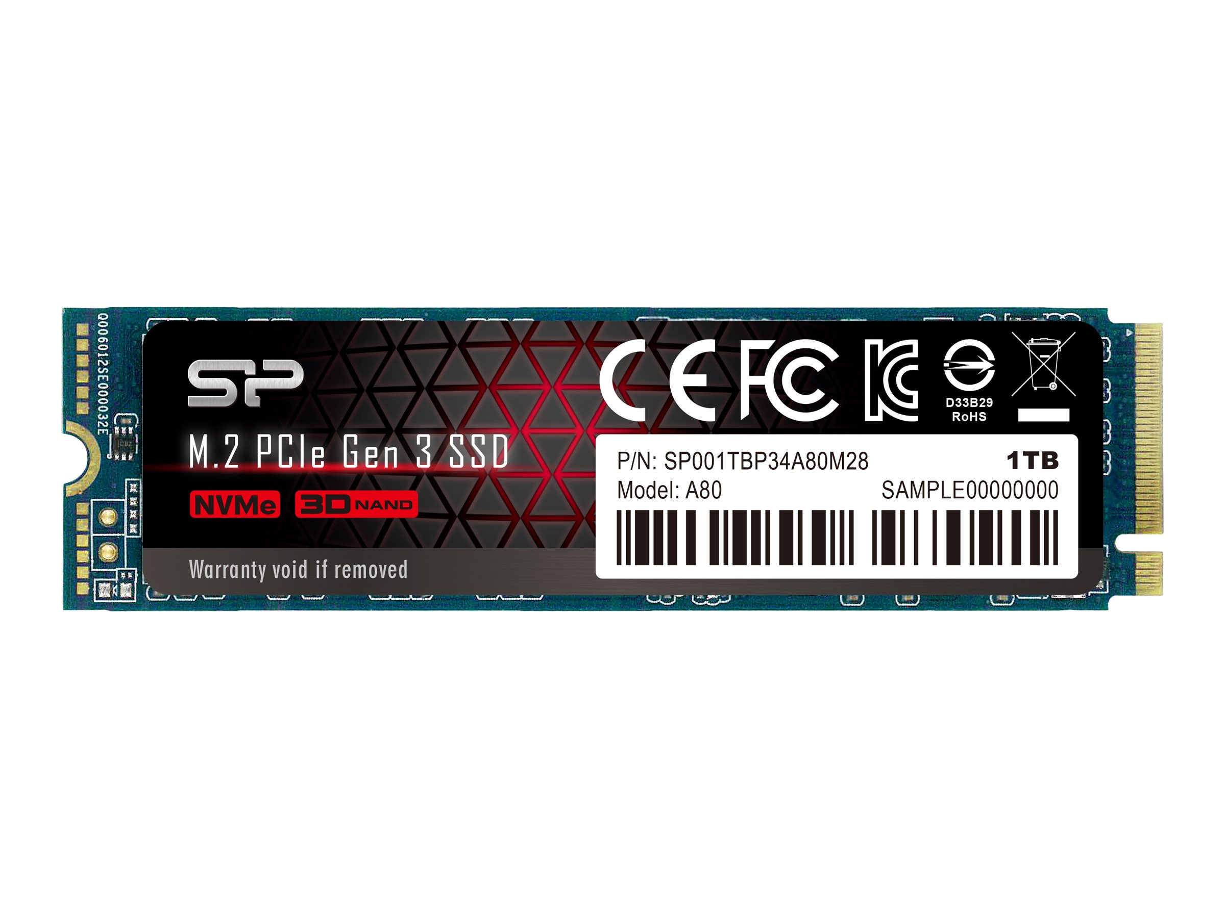 SILICON POWER P34A80 - Solid-State-Disk - 1 TB - intern - M.2 2280 - PCI Express 3.0 x4 (NVMe)